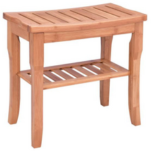 Load image into Gallery viewer, Waterproof Bamboo Wooden Shower Bench Seat With Storage Shelf