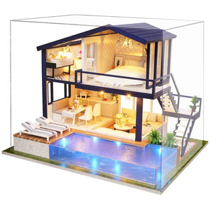 Modern Miniature Lighted DIY Dollhouse Kit
