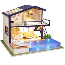 Load image into Gallery viewer, Modern Miniature Lighted DIY Dollhouse Kit
