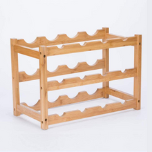 Load image into Gallery viewer, Natural Free Standing Bamboo Countertop Wine Bottle Storage Rack