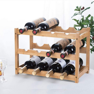 Natural Free Standing Bamboo Countertop Wine Bottle Storage Rack