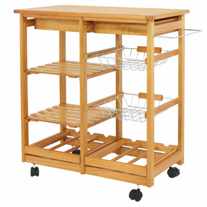 Portable Wood Top Rolling Kitchen Island Cart With Wheels