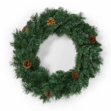 Load image into Gallery viewer, Decorative Pre-Lighted Pine Christmas Wreath 24 in