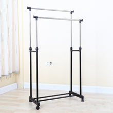 Load image into Gallery viewer, Heavy Duty Double Rail Portable Rolling Clothes Hanger Rack | Zincera
