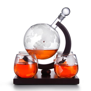Ultimate Globe Whiskey Decanter Set With 4 Glasses