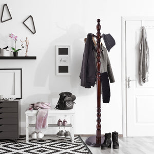 Wooden FreeStanding Entryway Coat Hanger Rack With 8 Hooks | Zincera