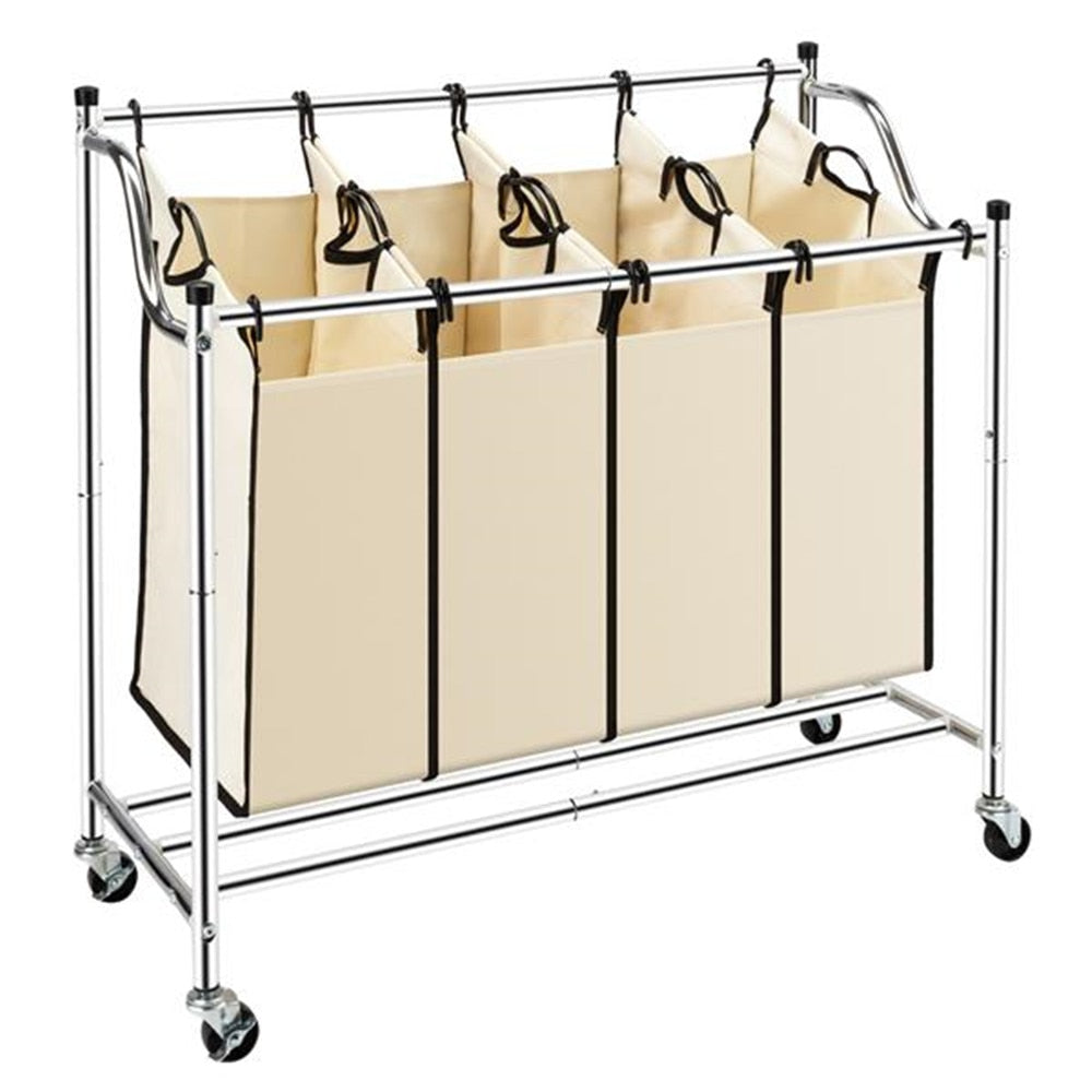 4 Section Laundry Sorter Dividing Hamper Basket | Zincera