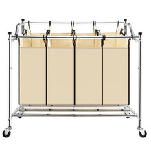 Load image into Gallery viewer, 4 Section Laundry Sorter Dividing Hamper Basket | Zincera