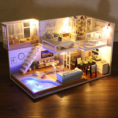 Large LED DIY Miniature Dollhouse Kit | Zincera