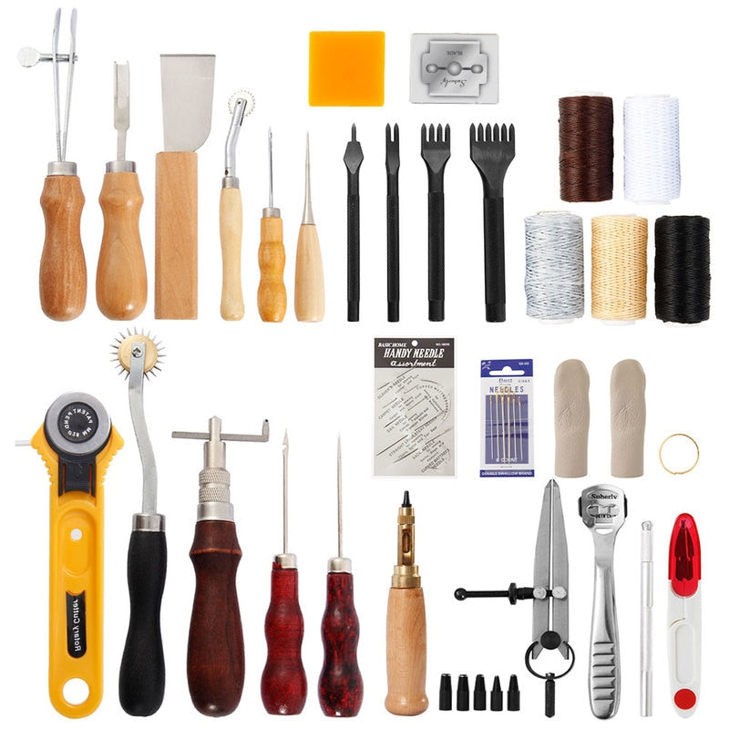 Professional Leather Working Craft Tool Kit 62pcs