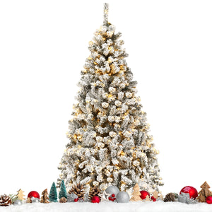Realistic Prelit Flocked Artificial Christmas Tree 6FT