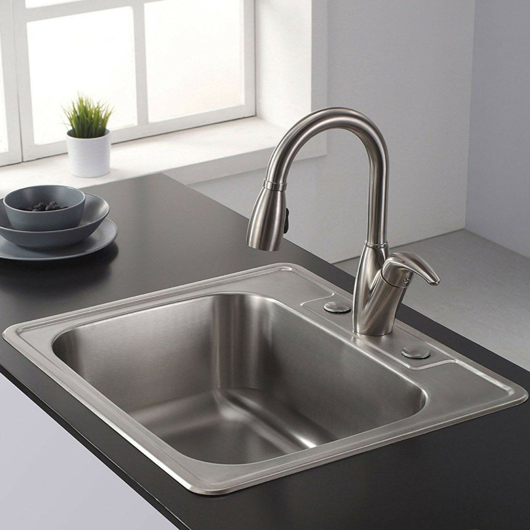Single Bowl Stainless Steel Drop In Overmount Kitchen Sink