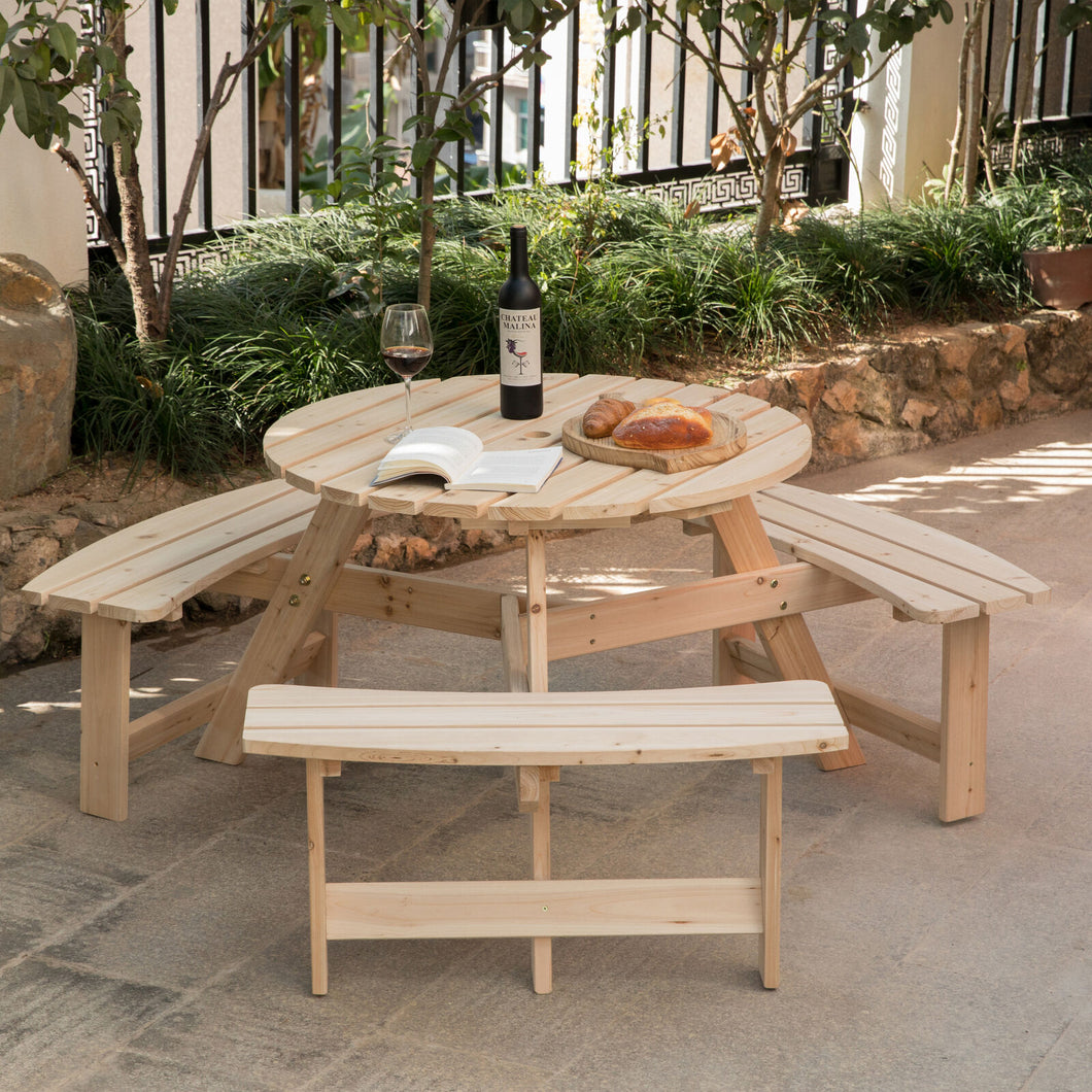 Spacious Outdoor Wooden Round Patio Picnic Table Bench