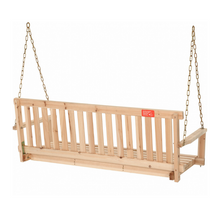 Load image into Gallery viewer, 4' Hanging Wooden Outdoor Porch Bench Swing | Zincera