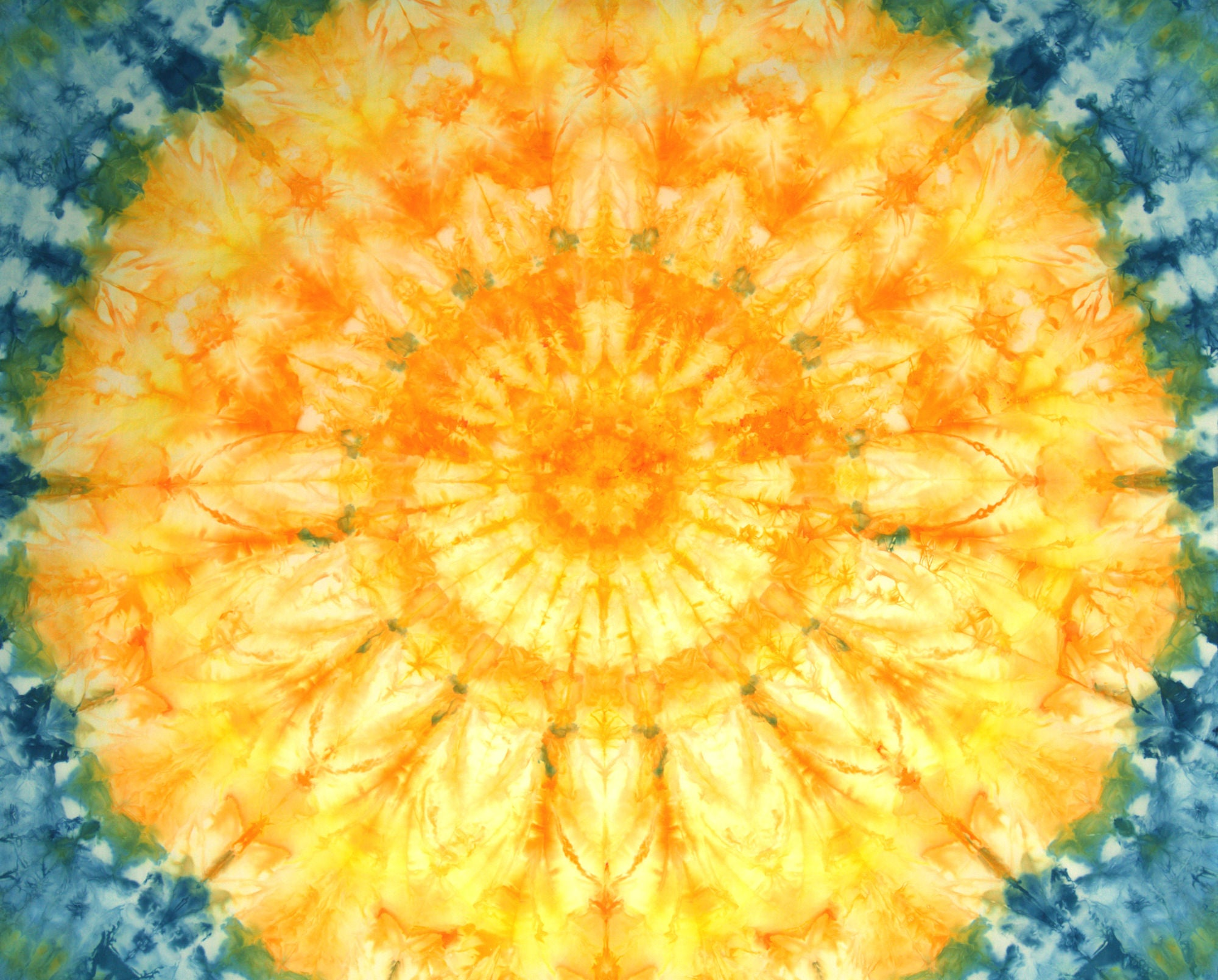 Yellow, Orange, and Blue Quilter's Cotton Mandala
