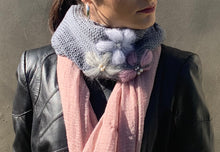 Load image into Gallery viewer, Embroidered cowl/ linen scarf