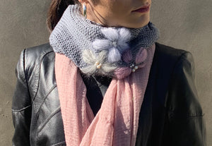 Embroidered cowl/ linen scarf
