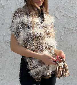 Boho poncho with tassels