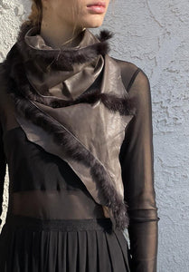 Leather cowl / neck scarf