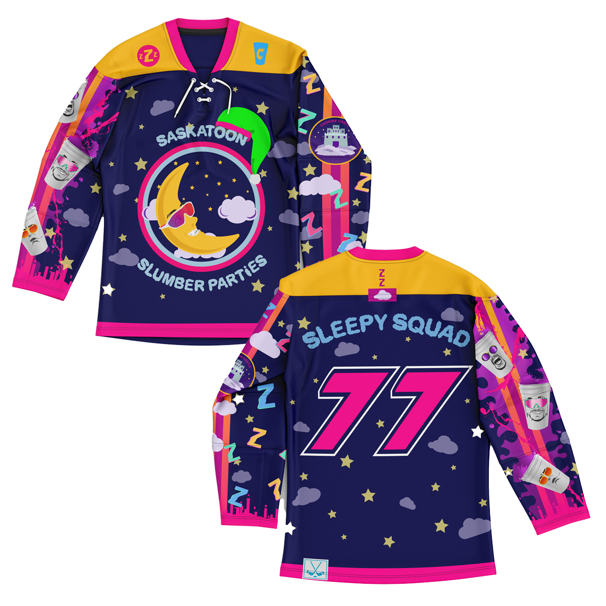 SASKATOON SLUMBER PARTiES HOCKEY JERSEY (Custom Option Only)