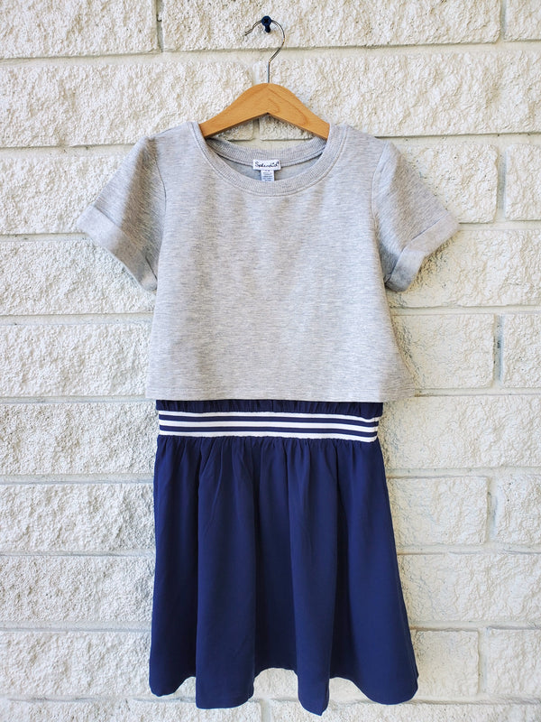 MIX KNIT WOVEN DRESS
