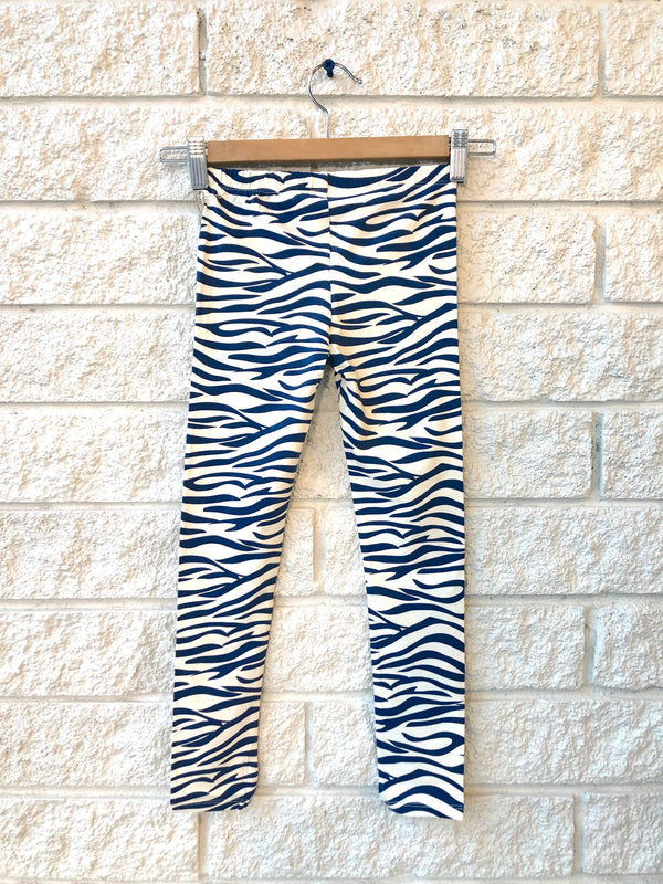 ORGANIC LEGGINGS IN BLUE ZEBRA