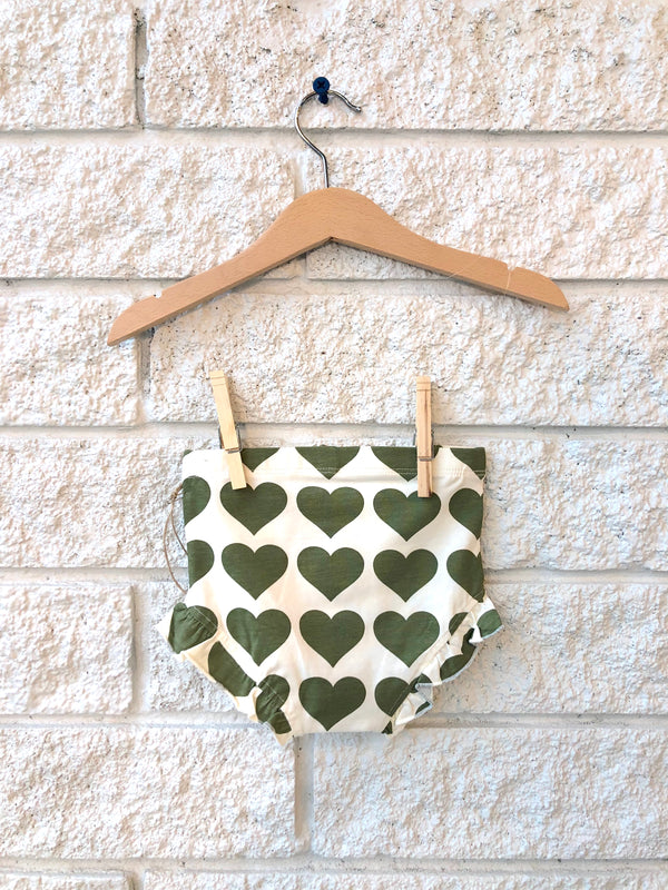 ORGANIC DIAPER COVER IN OLIVE HEARTS