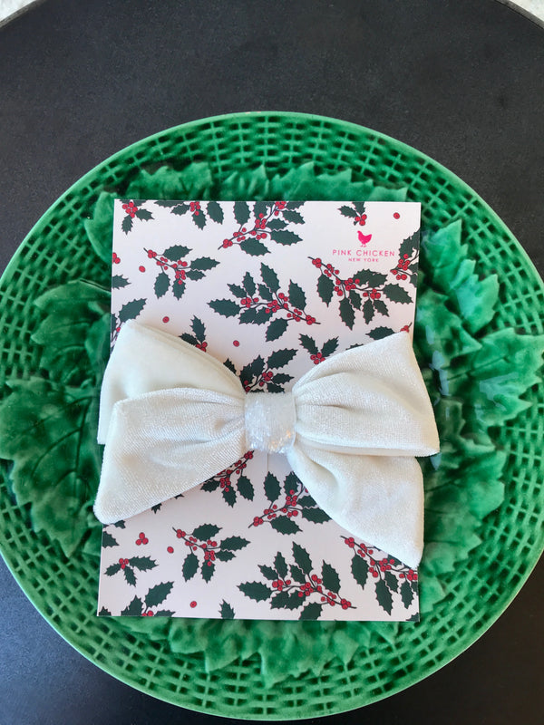 VELOUR/GLITTER BOW IN WHITE