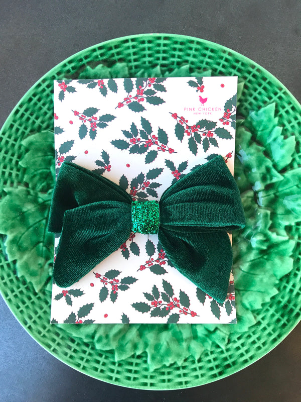 VELOUR/GLITTER BOW IN EVERGREEN