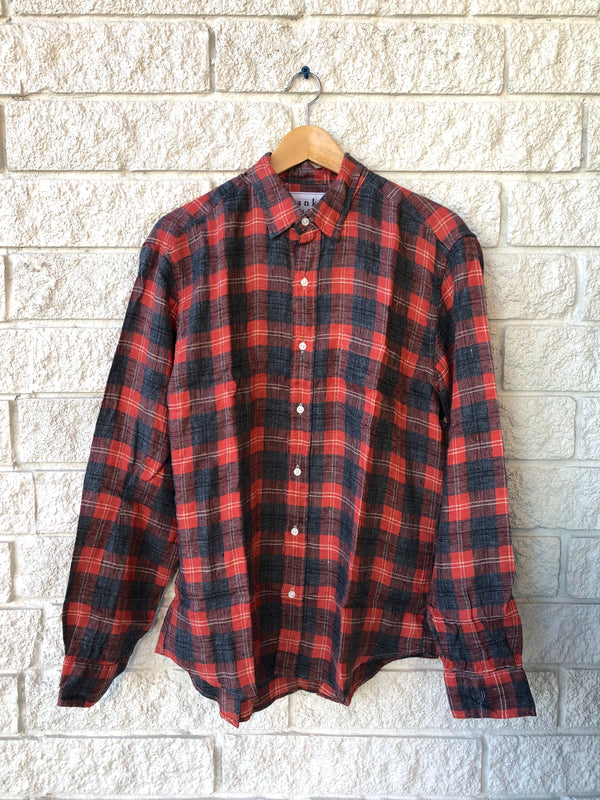 DON WOVEN BUTTON UP SALMON GREY PLAID FLANNEL