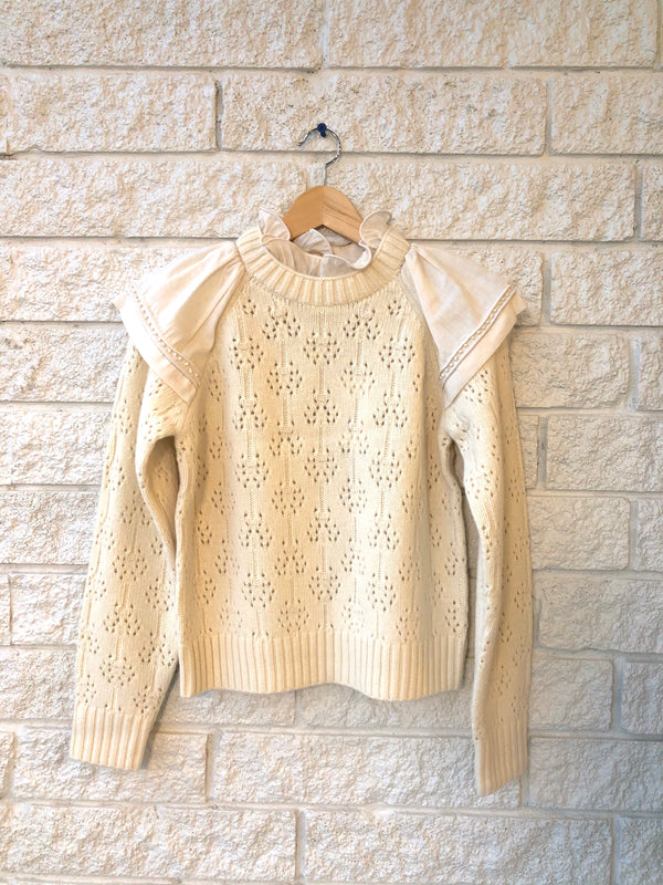 NOVIA RUFFLED COMBO SWEATER