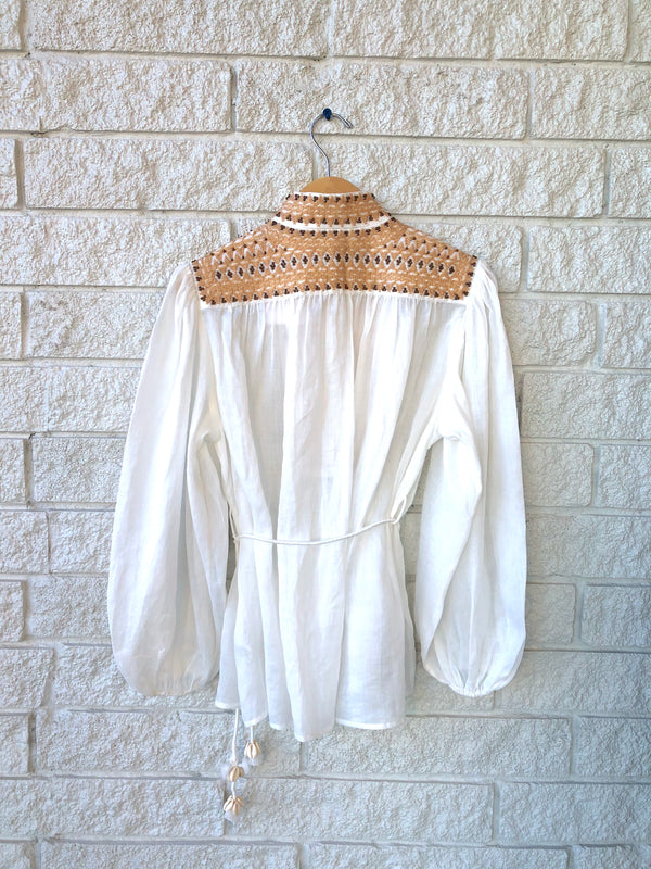 BRIGHTON BEADED YOKE BLOUSE