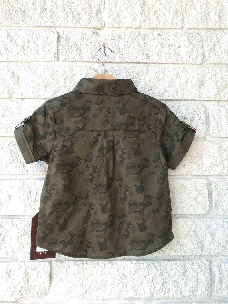 CUFF SLEEVE CAMO TWO POCKETS SHIRT