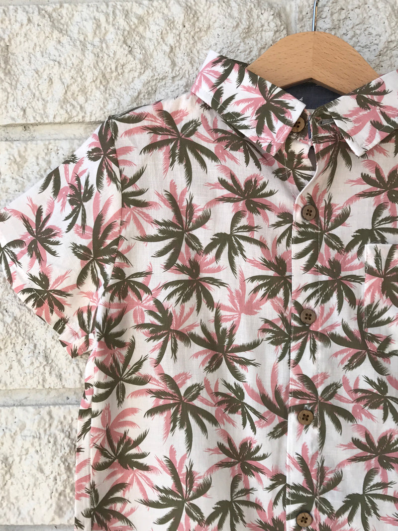 BLUSH RED OLIVE GREEN PALM TREE SHIRT