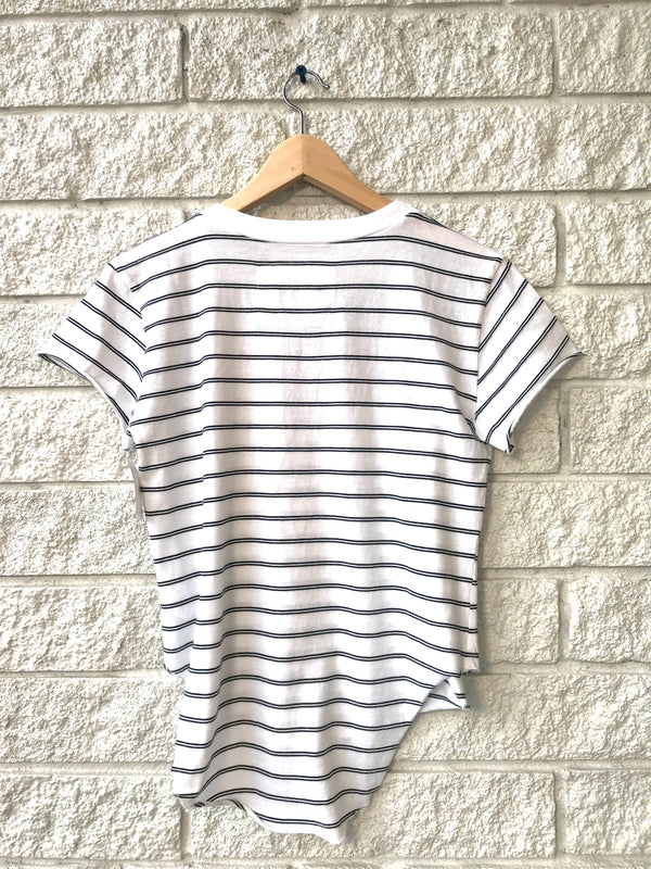 NAVY AND GREEN STRIPE VINTAGE TEE