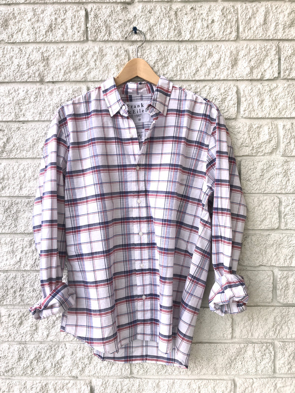 FINBAR PLAID MENS LONG SLEEVE BUTTON DOWN RED NAVY WHITE PLAID