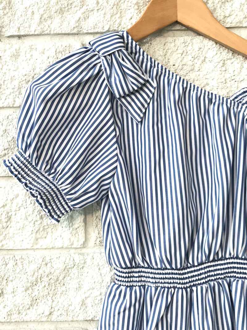 ONE SHOULDER STRIPE ROMPER BLUE