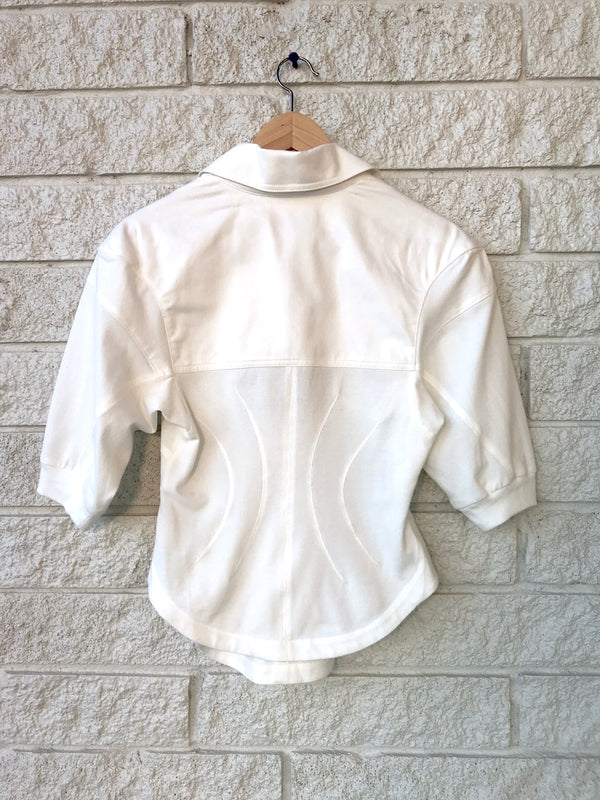 COTTON PIQUE CORSET POLO ZIPUP TOP