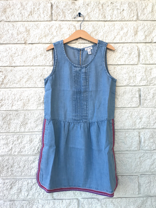 EMBOIDERED CHAMBRAY DRESS