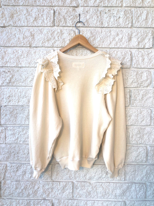 THE EYELET PLEAT SLEEVE SWEATSHIRT