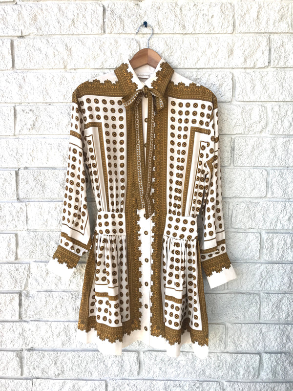 DOT SCARF MINI DRESS