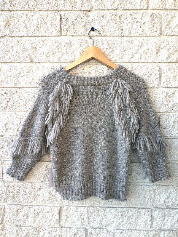 ALDAMA FRINGE CREW NECK SWEATER