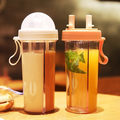 Water Bottle Double Hole Outdoor Travel Practical Durable Dual-use Drinking Cup