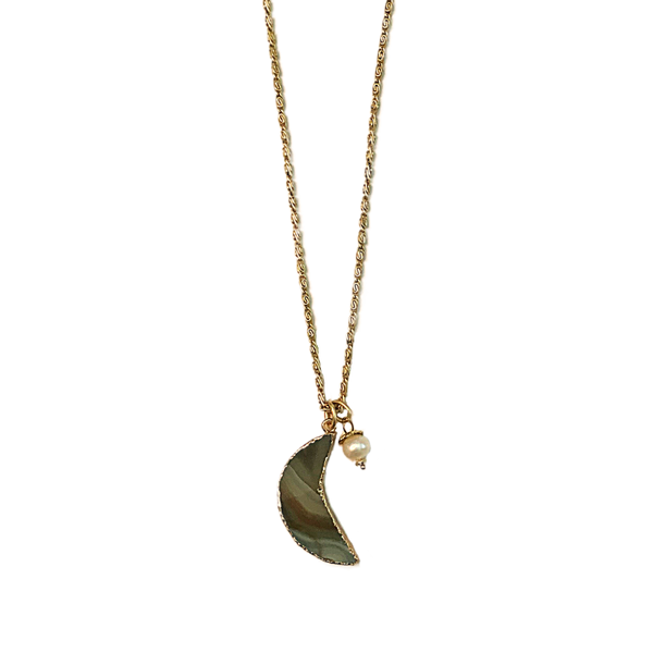 Courtney agate moon necklace