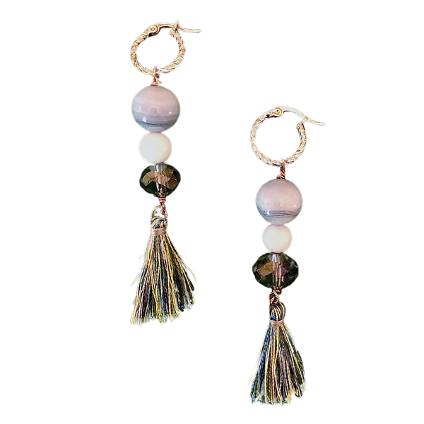 Catherine Rose Gold Blue Lace Agate Tassel earring