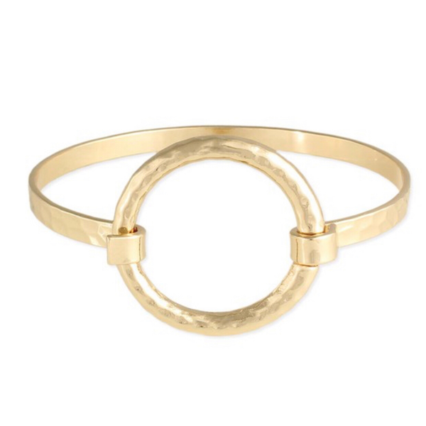 Totality hammered gold bangle