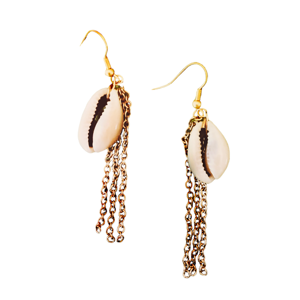 natural shell fringe earrings on gold hooks
