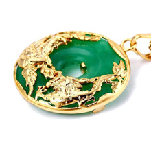 Load image into Gallery viewer, AUSPICIOUS DRAGON & PHOENIX JADE GOLD NECKLACE