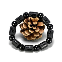 Load image into Gallery viewer, NATURAL MATTE OBSIDIAN STONES ENERGY HEALING MANTRA BRACELET