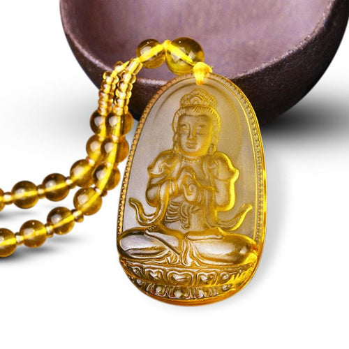 CITRINE GUARDIAN BUDDHA PENDANT NECKLACE